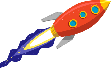 Red cartoon rocket with flaming exhaust