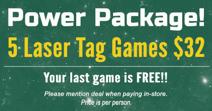Power Package - 5 laser tag games $32 - your last game is free!