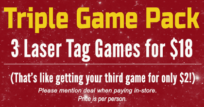 Triple Game Pack - 3 Laser Tag Games for $18 - that's like getting your third game for only $2!