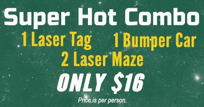 l Laser Tag, 1 Bumper Car, 2 Laser Maze -- $16