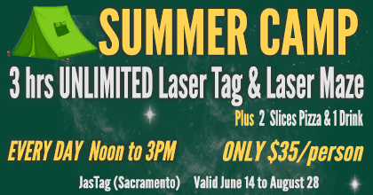 Summer Camp! 3 hrs unlimited laser tag and laser maze, plus 2 slices pizza and 1 drink. Noon to 3PM Every Day. Only $35, June 14 to August 28